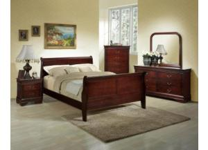 Louis Phillipe Cherry Queen Dresser & Mirror, Queen Bed, Nightstand and Chest