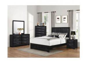 Lacquer Black Queen Bed (Hdbrd/Ftbrd/Rails)