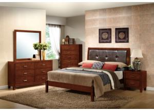 Dark Walnut Dresser, Mirror, Queen Bed and Nightstand