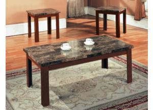 Faux Marble Cherry Finish Table Set