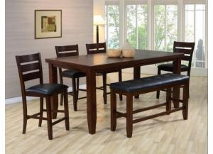 Bardstown Counter Height Dinette With Table, 4 Chairs And Bench