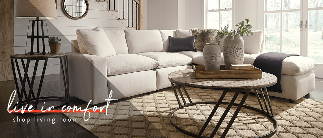 Beige living room sectional
