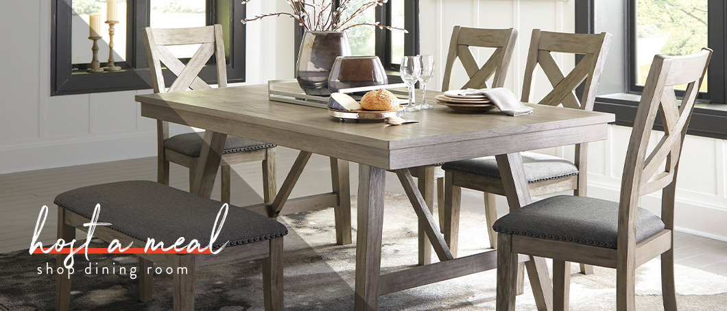 Modern gray wood dining set
