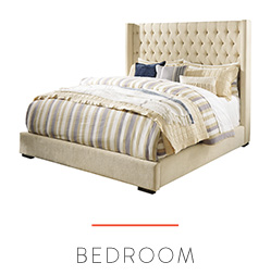 Upholstered bed with button tufting