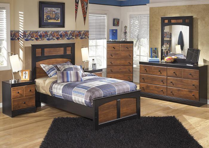 Aimwell Dark Brown Twin Panel Bed w/Dresser, Mirror, Nightstand and Drawer Chest,In-Store