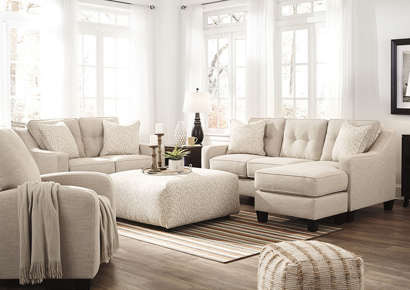 Southside Furniture Aldie Nuvell Sand Sofa Chaise & Loveseat