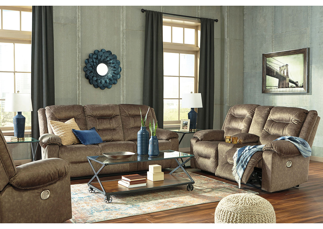 Waldheim Mocha Power Reclining Sofa and Loveseat,In-Store