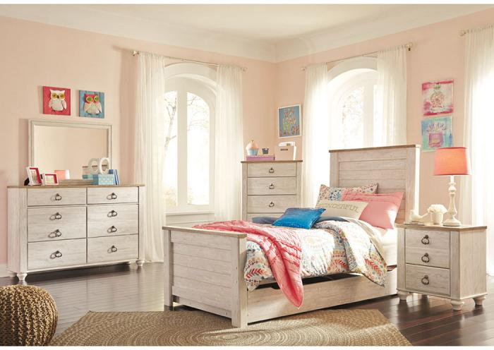 Willowton Whitewash Twin Storage Bed w/Dresser, Mirror, Nightstand and Drawer Chest,In-Store