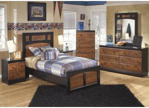 Aimwell Dark Brown Twin Panel Bed w/Dresser, Mirror, Nightstand and Drawer Chest