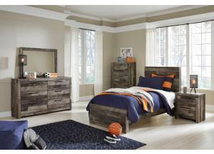 Derekson Multi Gray Twin Platform Bed w/Dresser, Mirror, Nightstand and Drawer Chest