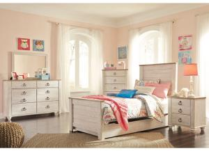 Willowton Whitewash Twin Storage Bed w/Dresser, Mirror, Nightstand and Drawer Chest