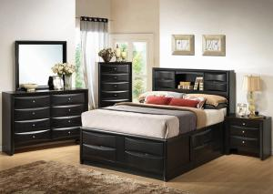 Briana Black Queen Storage Bed w/Dresser, Mirror & Nightstand