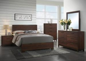 Rustic Tobacco/Dark Bronze Queen Panel Bed w/Dresser, Mirror & Nightstand