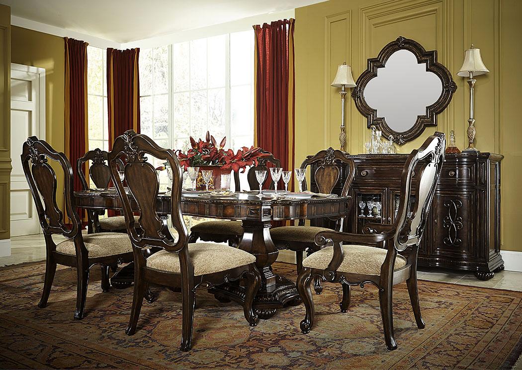 La Bella Vita Credenza : Squan furniture la bella vita coffee house brown w gold tipping 7