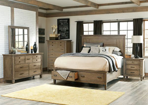 Brownstone Village Aged Patina Queen Panel Storage Queen Bed w/Dresser, Mirror, and Chest