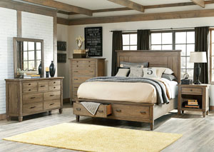 Brownstone Village Aged Patina Queen Panel Storage Queen Bed w/Dresser, Mirror, and Nightstand