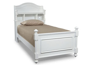 Madison Natural White Painted Bookcase Twin Bed