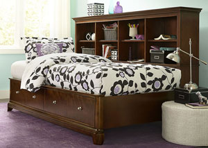 Impressions Classic Clear Cherry Bookcase Lounge Full Bed