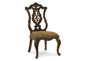 Pemberleigh Burnished Brandy Pierced Back Side Chair