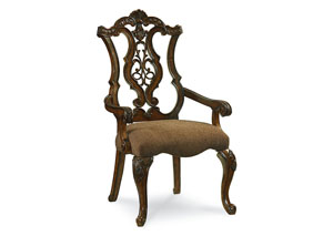 Pemberleigh Burnished Brandy Pierced Back Arm Chair