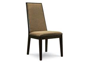 Kateri Hazelnut w/Ebony Exteriors Upholstered Side Chair