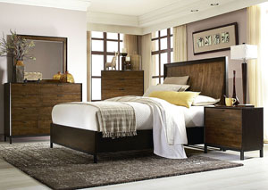Kateri Hazelnut w/Ebony Exteriors Curved Panel Queen Bed w/Dresser and Mirror