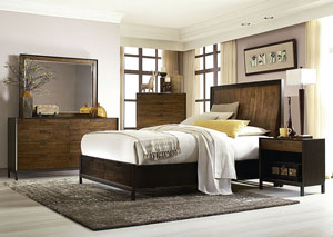 Kateri Hazelnut w/Ebony Exteriors Curved Panel Storage Queen Bed