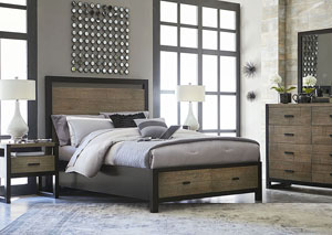 Image for Helix Charcoal & Stone Panel Storage Bed w/Bureau, Mirror, Nightstand