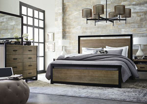 Image for Helix Charcoal & Stone Panel Bed w/Bureau, Mirror