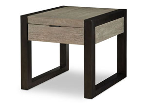Image for Helix Charcoal & Stone Rectangular End Table