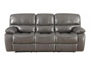 Charcoal Grey Top Grain Leather Power Reclining Sofa