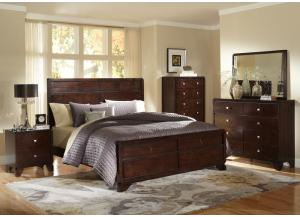 Merlot Queen Panel Bed w/Dresser, Mirror, Drawer Chest and Nightstand
