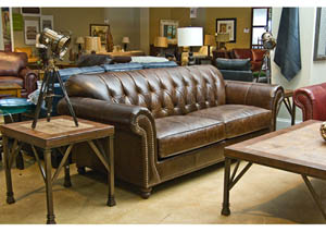 130 Chesterfield Leather Sofa by Klaussner