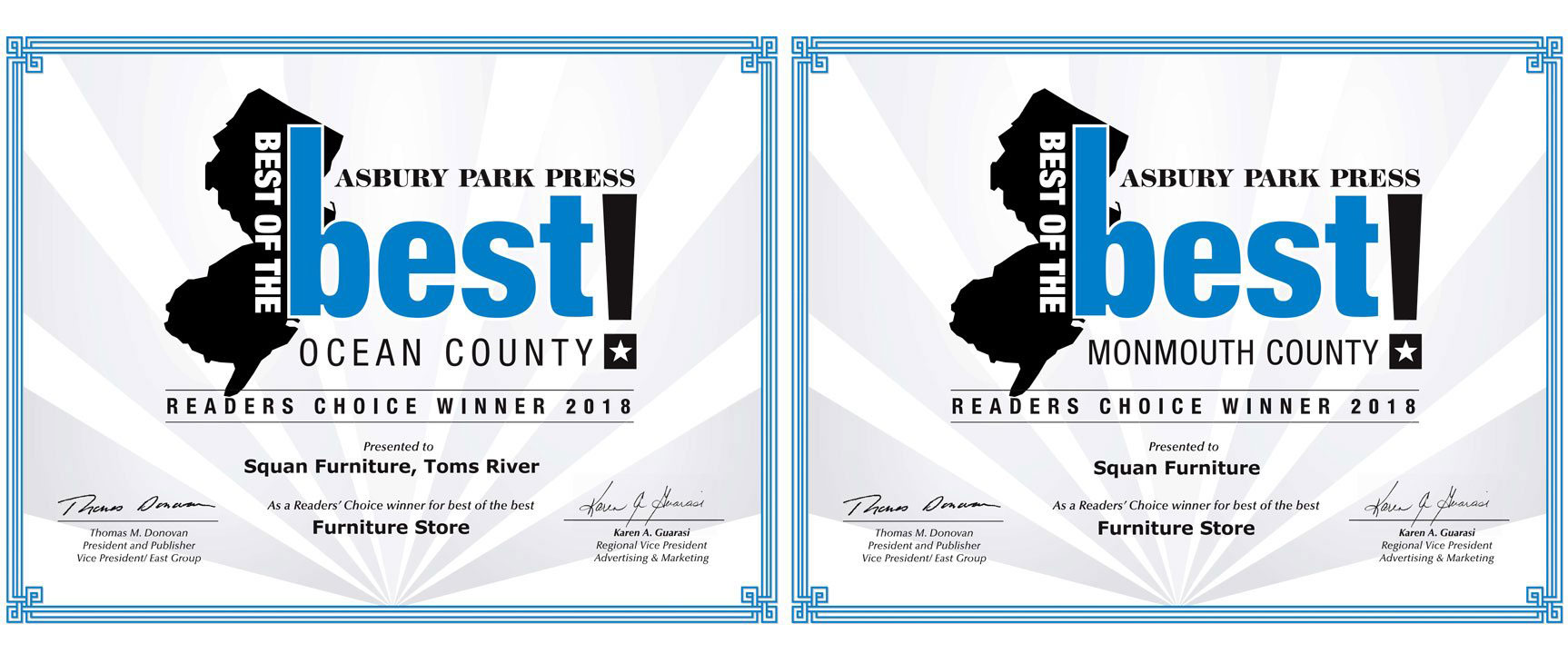 Asbury Park Press Best of the Best Award Winner Squan Furniture