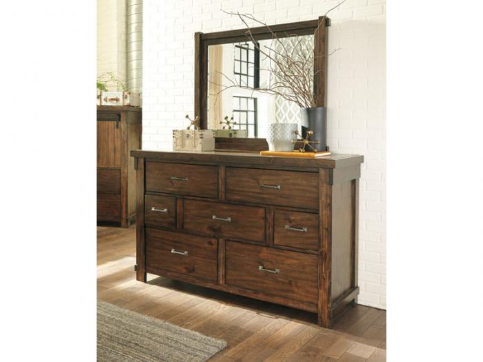MB136 Rustic Brown King Panel Bed, Dresser & Mirror,Taft Furniture Showcase