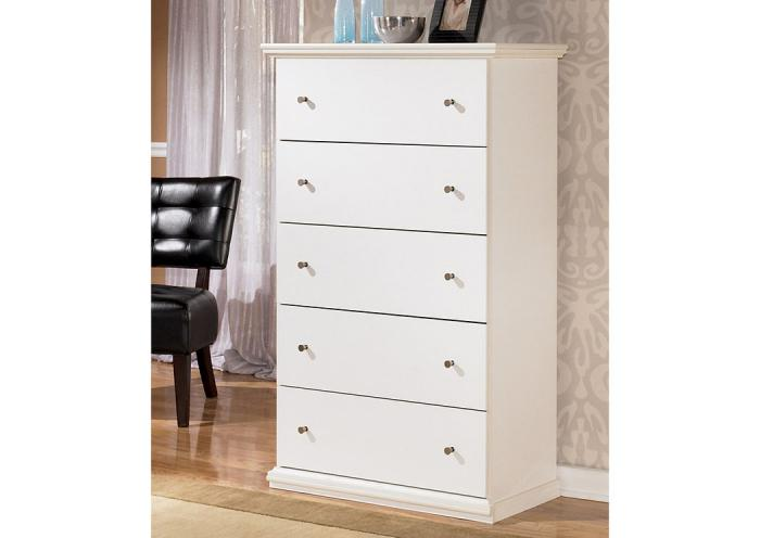 MB5 Cottage White 5-Drawer Chest ,Taft Furniture Showcase