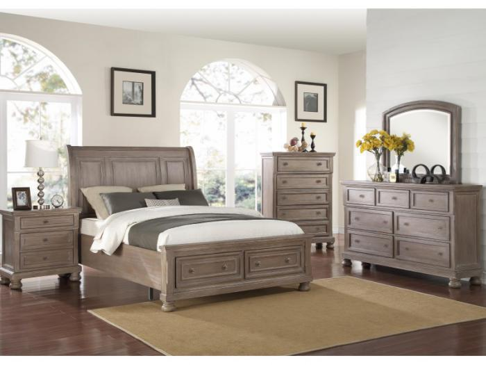 MB74 Pewter Vintage King Storage Bed, Dresser & Mirror,Taft Furniture Showcase
