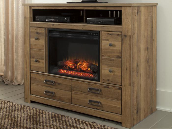 MB67 Vintage Light Brown Media Chest  with Fireplace Insert,Taft Furniture Showcase