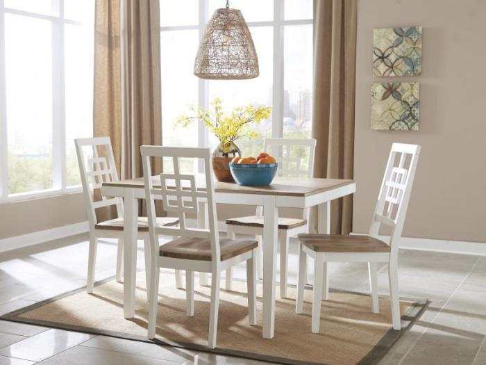 DR79 2-Tone White Dining Table & 4 Chairs,Taft Furniture Showcase