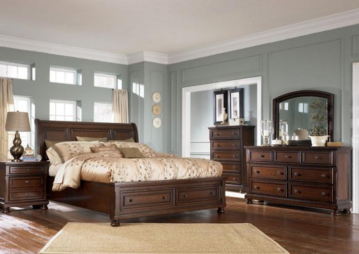 MB30 Vintage Brown King Storage Bed, Dresser, Mirror & Chest,Taft Furniture Showcase