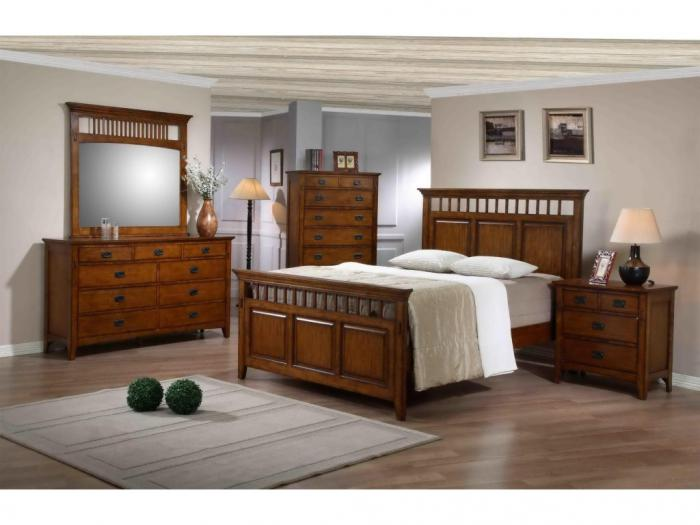 MB35 Mission Oak Queen Panel Bed, Dresser & Mirror,Taft Furniture Showcase