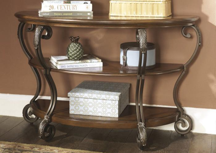 Wood, Metal & Glass Sofa Table,Taft Furniture Showcase