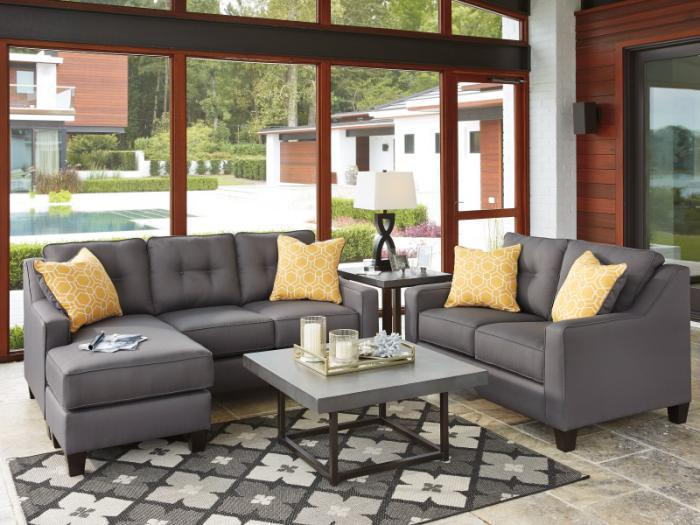 Taft Furniture Sleep Center Nuvella Gray Sofa Chaise