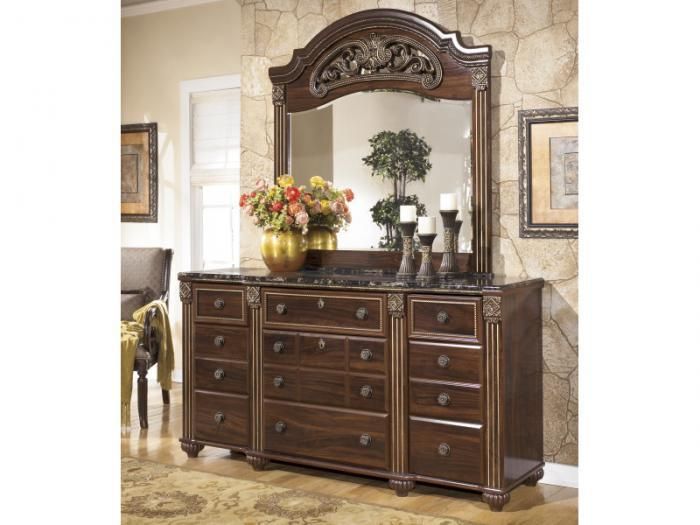 MB24 Old World Dark Dresser & Mirror,Taft Furniture Showcase