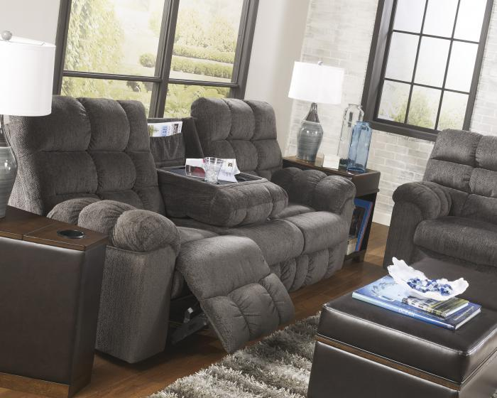 LR14 Grey Reclining Sofa With Dropdown Table,Taft Furniture Showcase