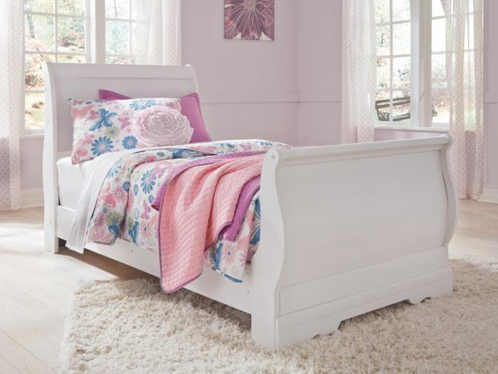 YB18 Traditional White Twin Sleigh Bed,Taft Furniture Showcase