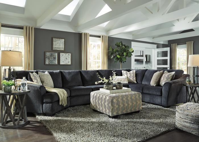 Taft Furniture Sleep Center Elton Slate 3 Piece Sectional