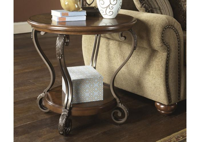 Wood, Metal & Glass Round End Table,Taft Furniture Showcase