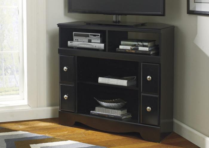 HE3 Contemporary Black Corner TV Stand,Taft Furniture Showcase