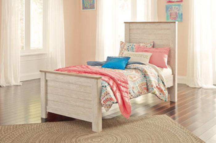 MB107 2-Tone White Wash Twin Panel Bed,Taft Furniture Showcase